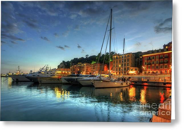 Blue Hour At Port Nice 2.0 Greeting Card by Yhun Suarez