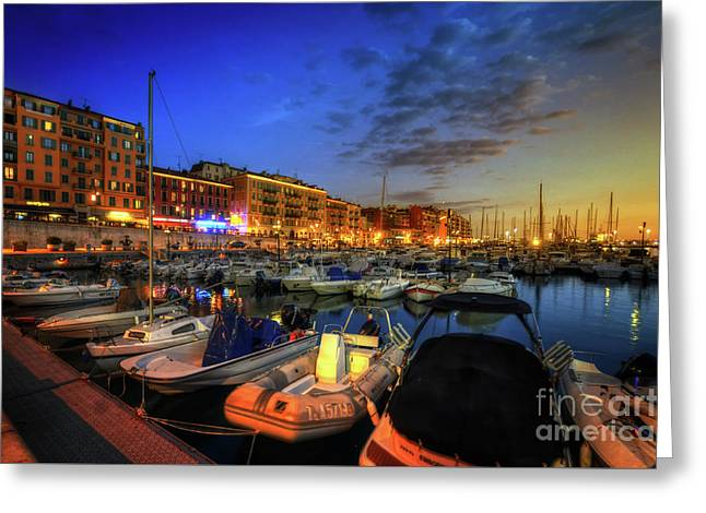 Greeting Card featuring the photograph Blue Hour At Port Nice 1.0 by Yhun Suarez
