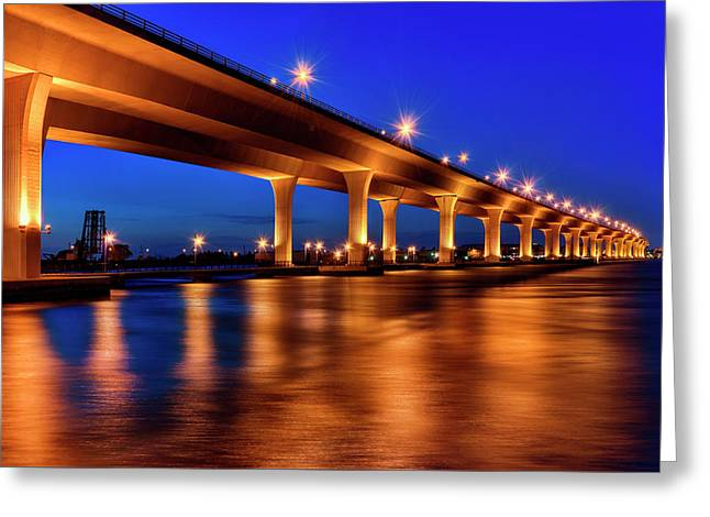 Greeting Card featuring the photograph Blue Hour At Roosevelt Bridge In Stuart Florida  by Justin Kelefas
