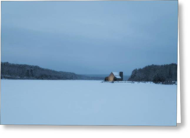 Blue Hour At The Old Stone Church Greeting Card