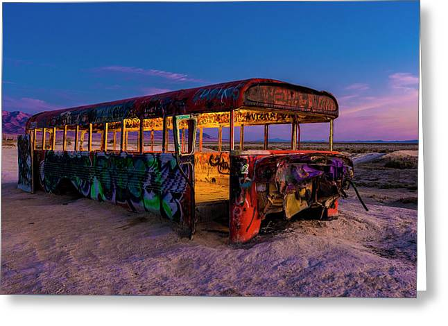 Blue Hour Bus Greeting Card