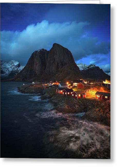 Blue Hour In Lofoten Greeting Card
