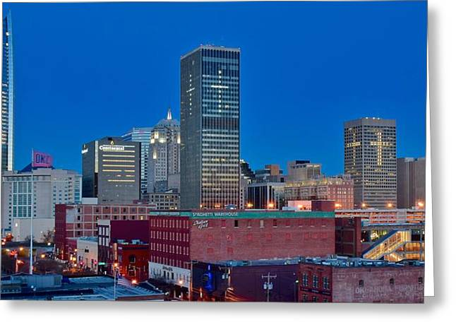 Blue Hour Okc Panoramic View Greeting Card by Frozen in Time Fine Art Photography