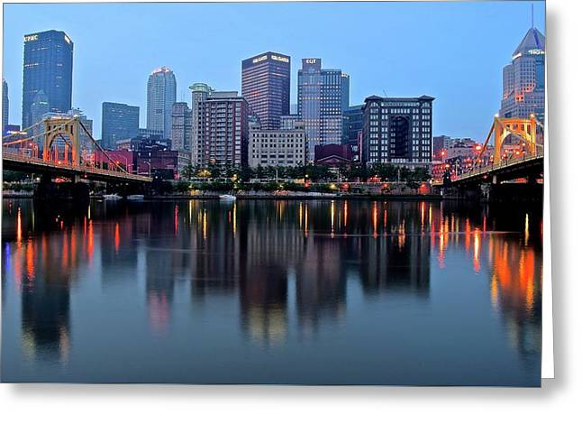 Blue Hour On The River Greeting Card by Frozen in Time Fine Art Photography