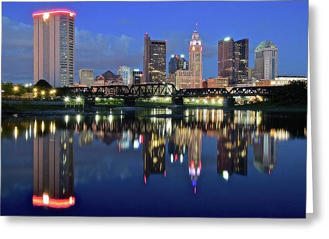 Blue Hour On The Scioto Greeting Card