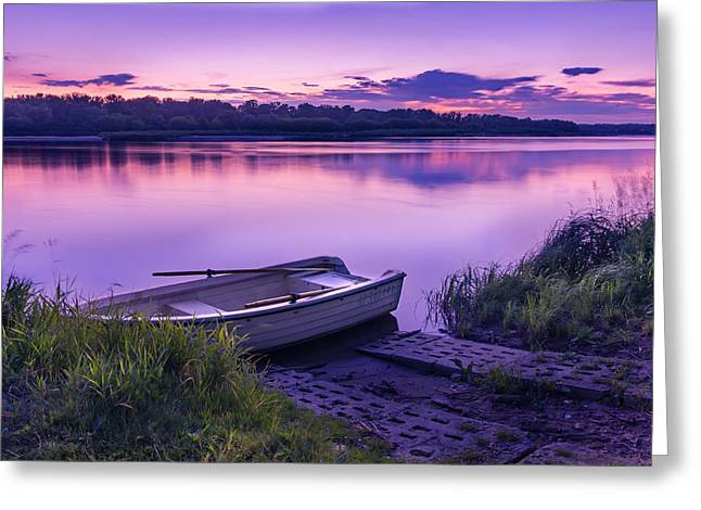 Blue Hour On The Vistula River Greeting Card