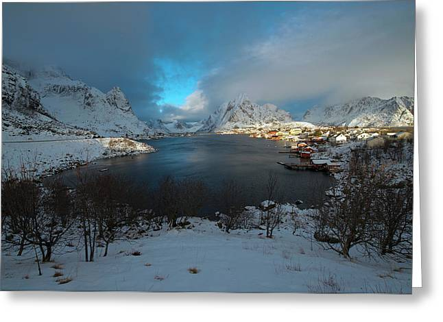 Greeting Card featuring the photograph Blue Hour Over Reine by Dubi Roman