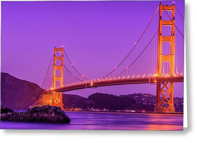 Golden Gate Bridge In The Blue Hour Greeting Card