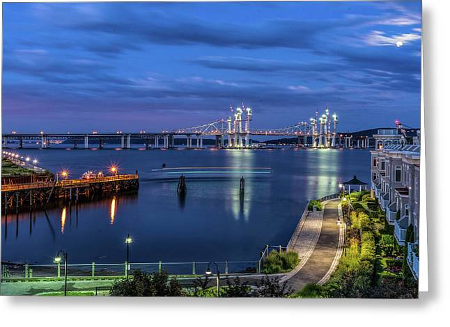 Blue Hour Over The Hudson Greeting Card