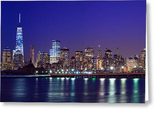 Blue Hour Panorama New York World Trade Center With Freedom Tower From Liberty State Park Greeting Card