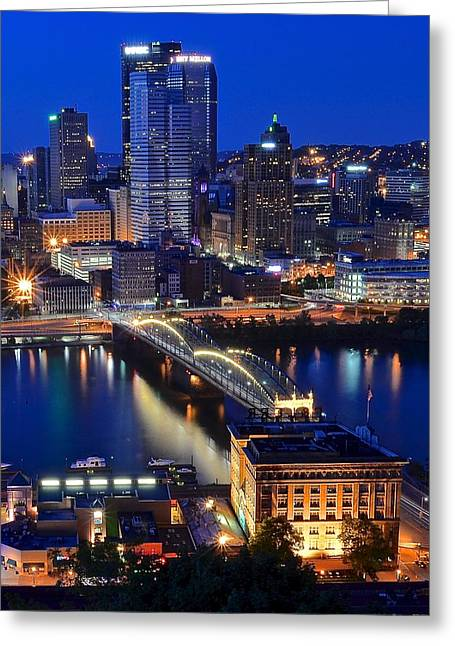Blue Hour Pittsburgh Greeting Card by Frozen in Time Fine Art Photography