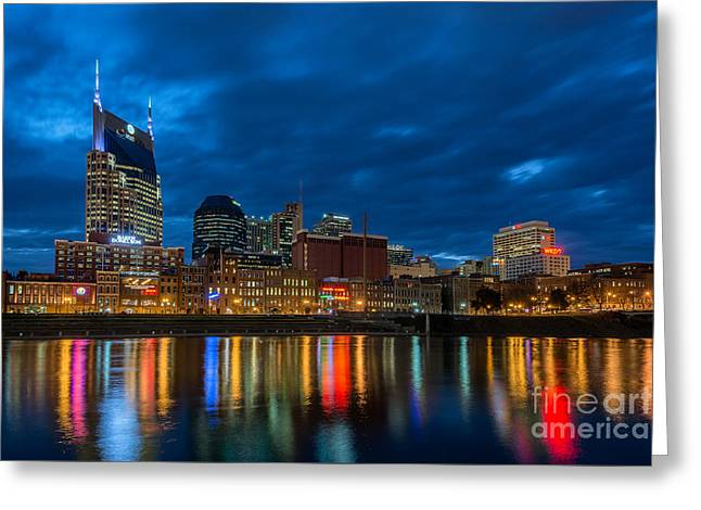 Blue Hour Reflections Greeting Card by Anthony Heflin