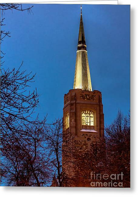 Blue Hour Steeple Greeting Card