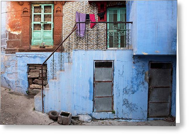 Greeting Card featuring the photograph Blue House Front Entrance by Michalakis Ppalis