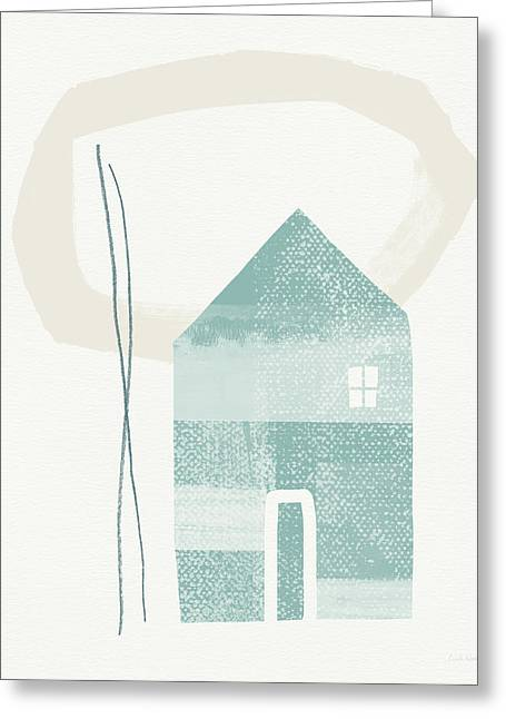 Blue House In Moonlight- Art By Linda Woods Greeting Card