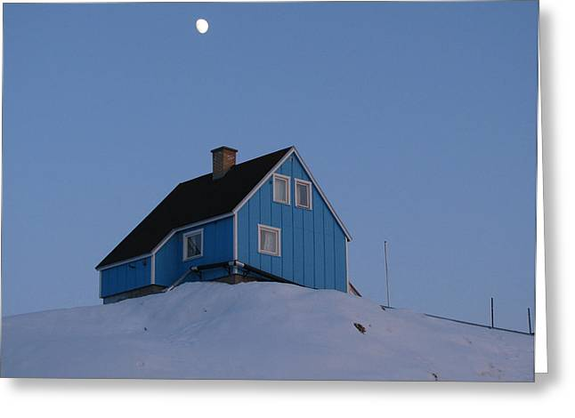 Blue House With Moon Greeting Card by Sidsel Genee