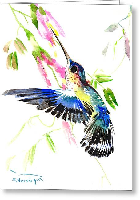 Blue Hummingbird Greeting Card