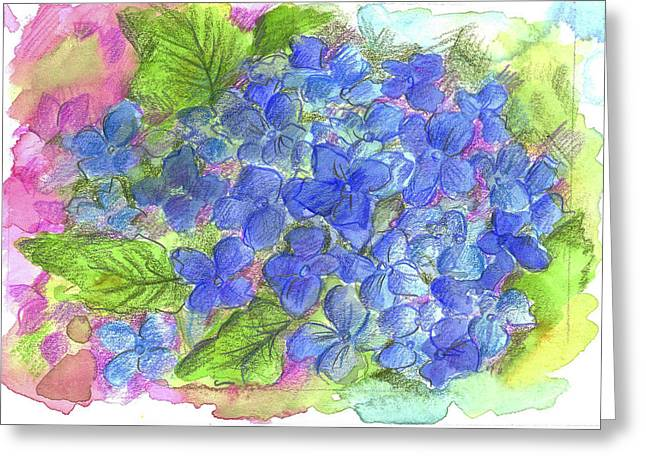 Greeting Card featuring the painting Blue Hydrangea by Cathie Richardson
