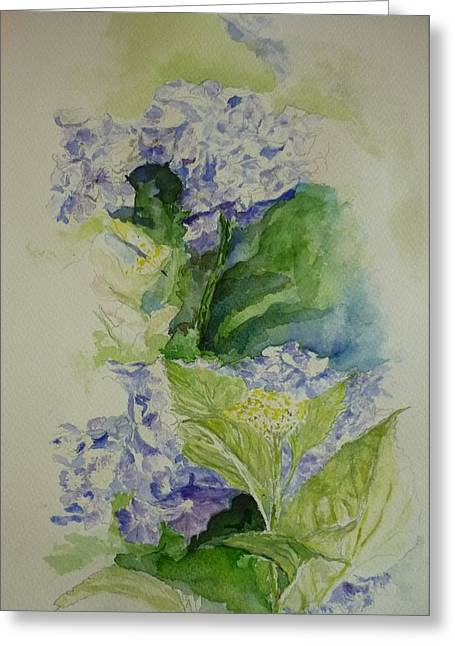 Blue Hydrangea Greeting Card by Lizzy Forrester