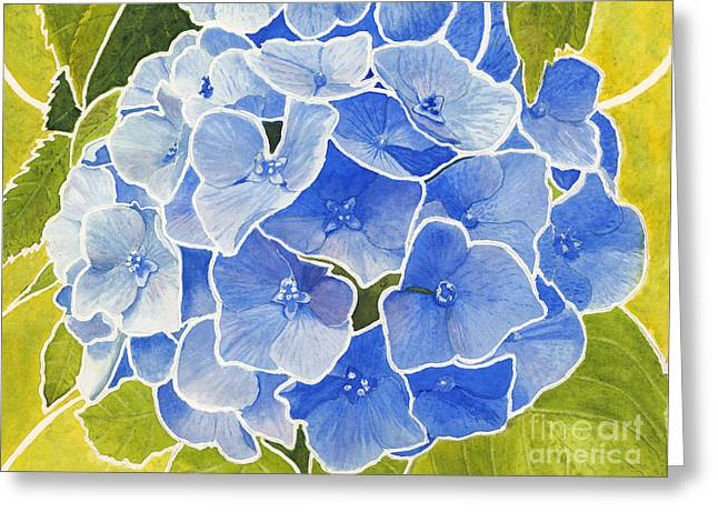 Blue Hydrangea Stained Glass Look Greeting Card