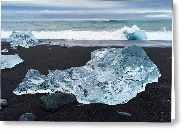 Blue Ice In Iceland Jokulsarlon Greeting Card by Matthias Hauser