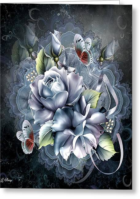 Blue Ice Roses Greeting Card