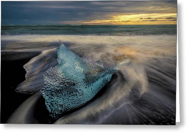 Greeting Card featuring the photograph Blue Ice Stranding by Rikk Flohr