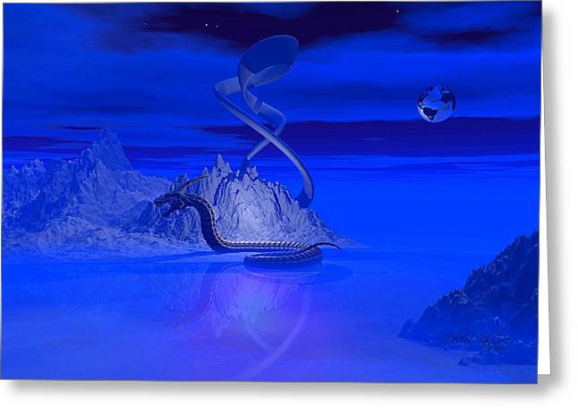 Blue Ice World Dragon Greeting Card