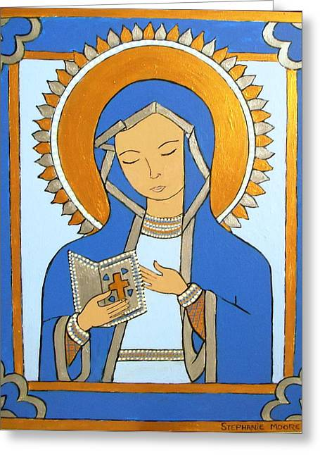 Greeting Card featuring the painting Blue Icon by Stephanie Moore
