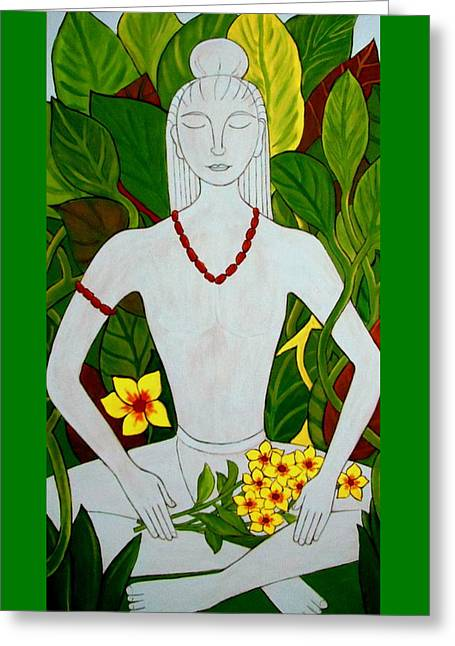 Greeting Card featuring the painting Blue Idol by Stephanie Moore