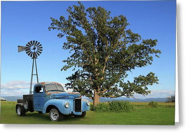 Blue International Truck Greeting Card