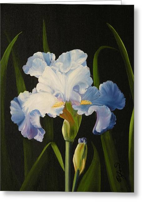 Greeting Card featuring the painting Blue Iris by Joni McPherson