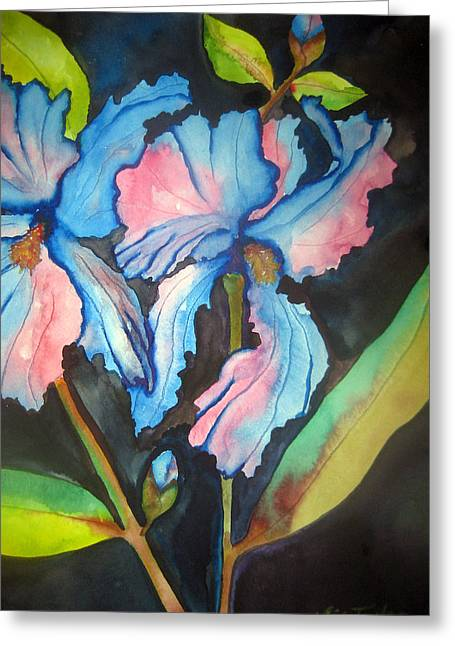 Blue Iris Greeting Card by Lil Taylor