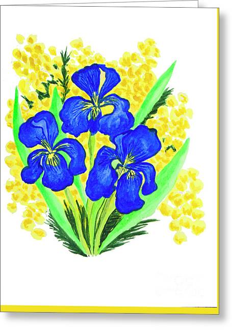 Blue Irises And Mimosa Greeting Card