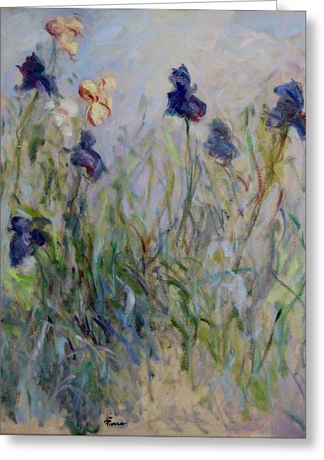 Blue Irises In The Field, Painted In The Open Air  Greeting Card by Pierre Van Dijk
