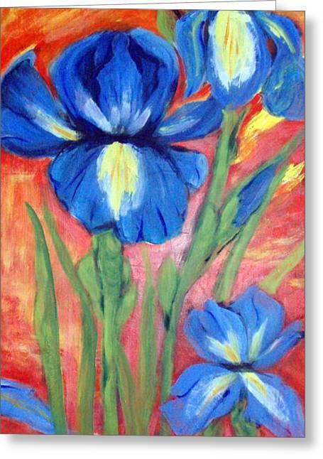 Blue Irises Greeting Card by Lia  Marsman