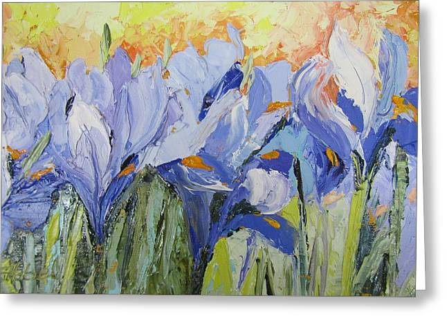 Blue Irises Palette Knife Painting Greeting Card