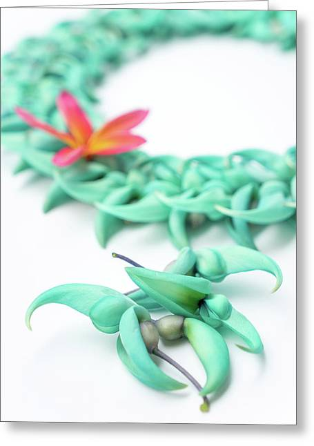 Blue Jade Lei Greeting Card