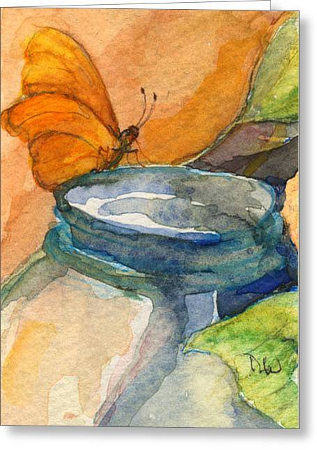 Blue Jar And Butterfly Greeting Card by Nancy Watson
