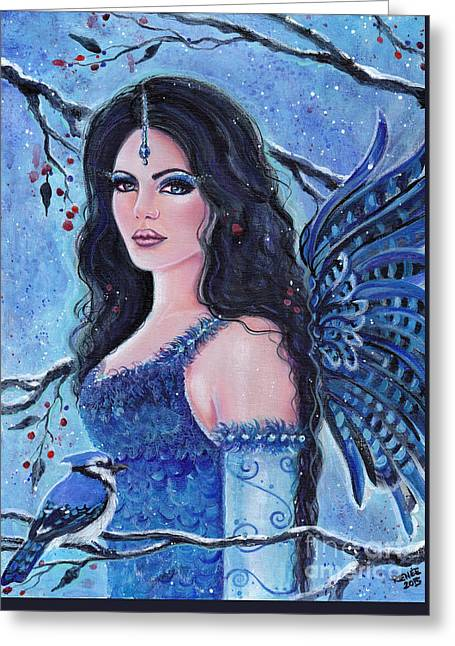 Blue Jay Fae Greeting Card by Renee Lavoie