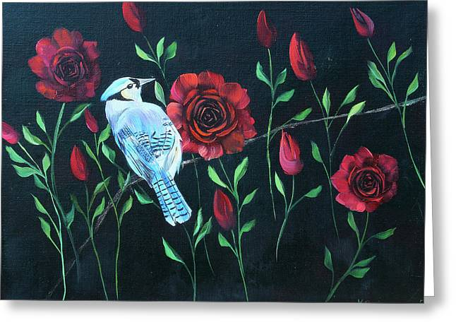 Blue Jay In Rose Bush Greeting Card