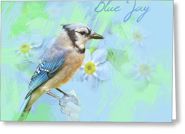 Greeting Card featuring the photograph Blue Jay Watercolor Photo by Heidi Hermes