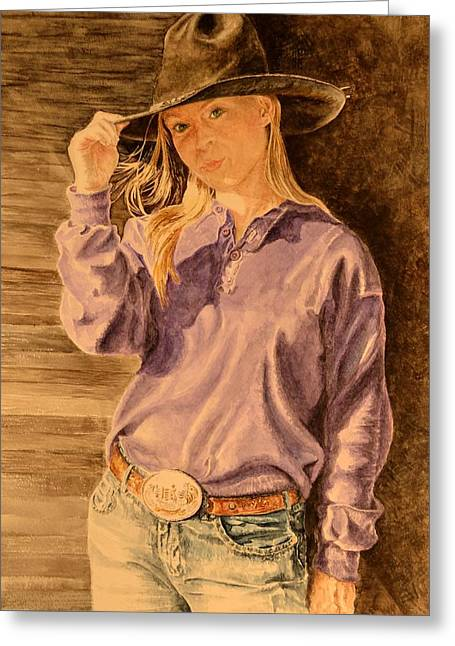Blue Jean Cowgirl Greeting Card