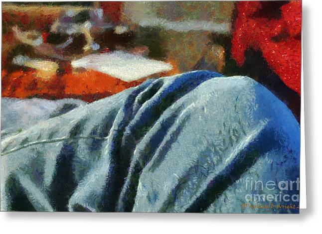 Blue Jean Morning Greeting Card by Paulette B Wright