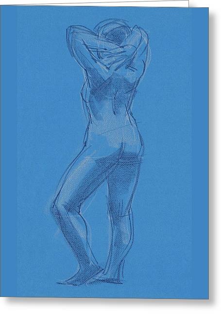 Greeting Card featuring the painting Blue by Judith Kunzle