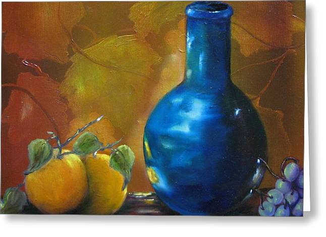 Blue Jug On The Shelf Greeting Card by Carol Sweetwood