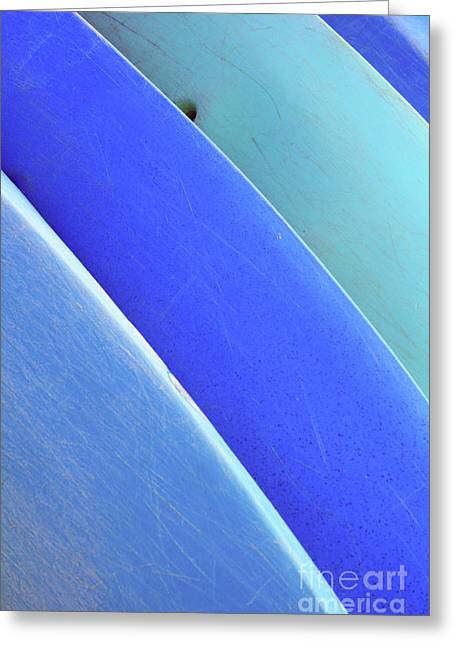 Blue Kayaks Greeting Card by Brandon Tabiolo - Printscapes