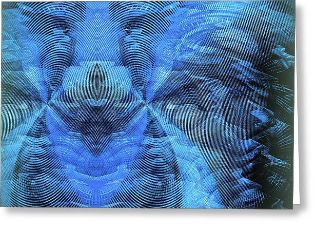 Greeting Card featuring the digital art Blue Kitty by Visual Artist Frank Bonilla
