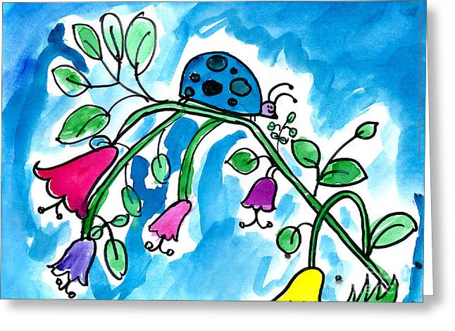 Blue Ladybug Greeting Card