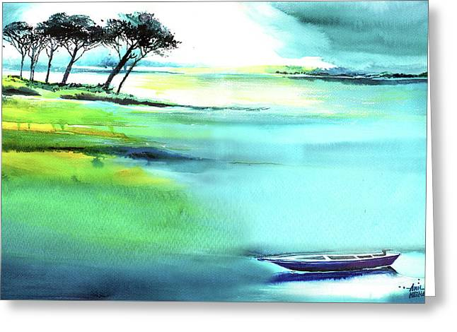 Greeting Card featuring the painting Blue Lagoon by Anil Nene